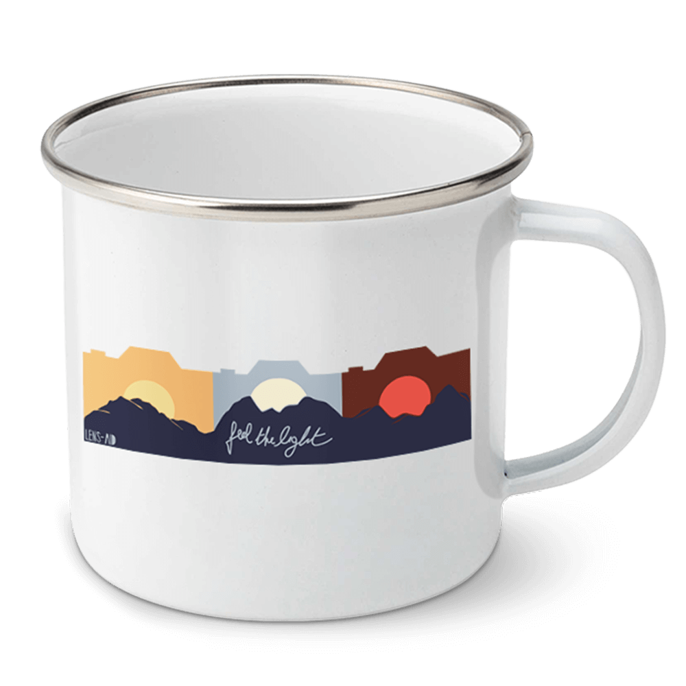 Emaille Tasse Fotografen Feel the light FRONT 1 - Tasse für Fotografen